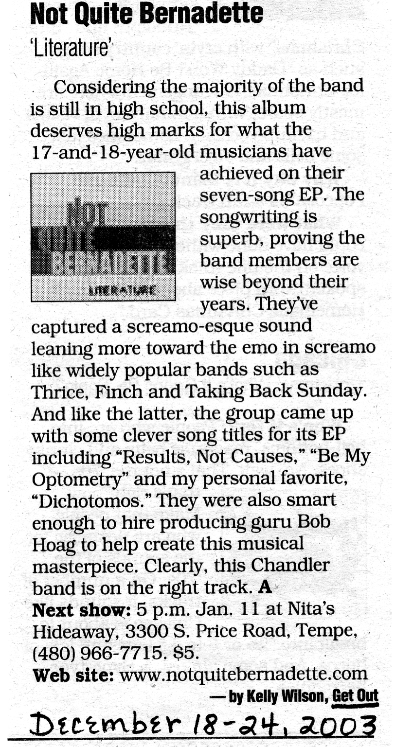 """Throwback to decade-old review of Not Quite Bernadette's """"Literature"""""""